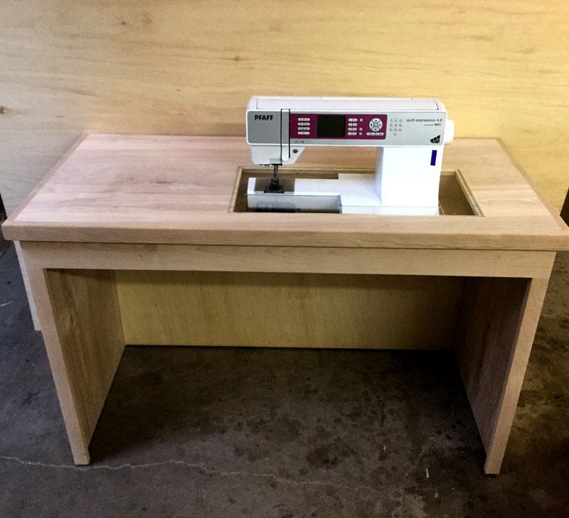 Custom sewing machine desk with lucite panel custom furniture by desert design furniture